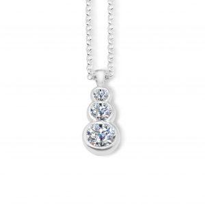 Liquid light 3 stone pendant - White