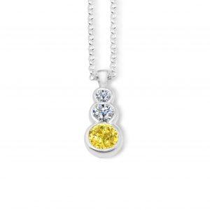 Liquid light 3 stone pendant - Yellow