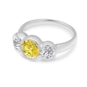 Liquid light 3 stone ring - Yellow