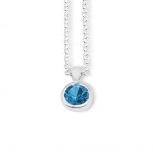 Liquid light single stone pendant - Blue